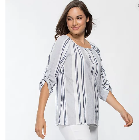 THREADZ MULTI STRIPE TAB SLEEVE SHIRT
