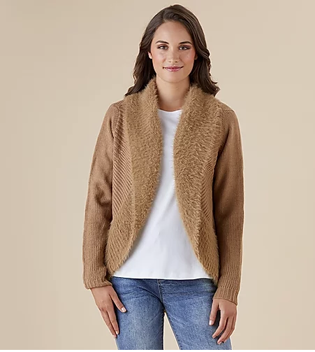 Threadz faux fur cardigan caramel