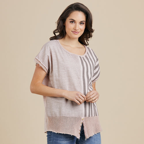 Threadz MULTI STRIPE HEM TOP