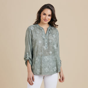 100% Cotton top with embroidered detail.