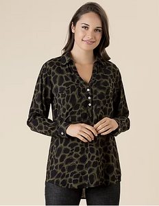 THREADZ ANIMAL PRINT V NECK BUTTON