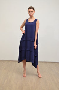 LINEN RAYON RUFFLE TRIM MAXI DRESS