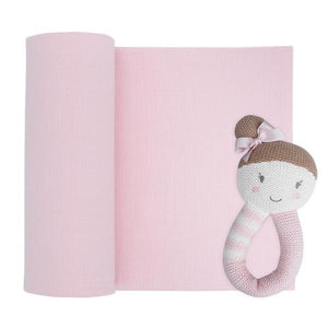 MUSLIN SWADDLE AND RATTLE