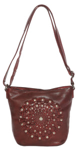 VINTAGE LEATHER CROSS BODY BUCKET BAG
