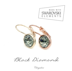 SWAROVSKI  ELEMENT RHODIUM EARRINGS
