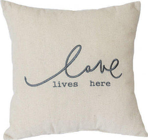 LOVE LIVES HERE CUSHION 31 X 31 CM