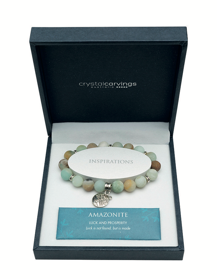 AMAZONITE MATTE BRACELET TREE OF LIFE CHARM