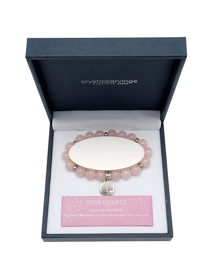 ROSE QUARTZ BRACELET TREE OF LIFE CHARM