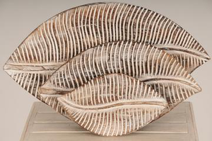 WOOD LEAF PLATE SET