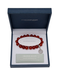 ORANGE AGATE BRACELET TREE OF LIFE CHARM