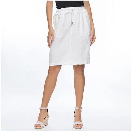 GORDON SMITH RIB WAIST LINEN SKIRT