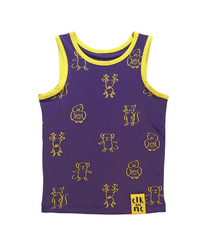 ELK AND FRIENDS PURPLE SINGLET FOR GIRLS+BOYS