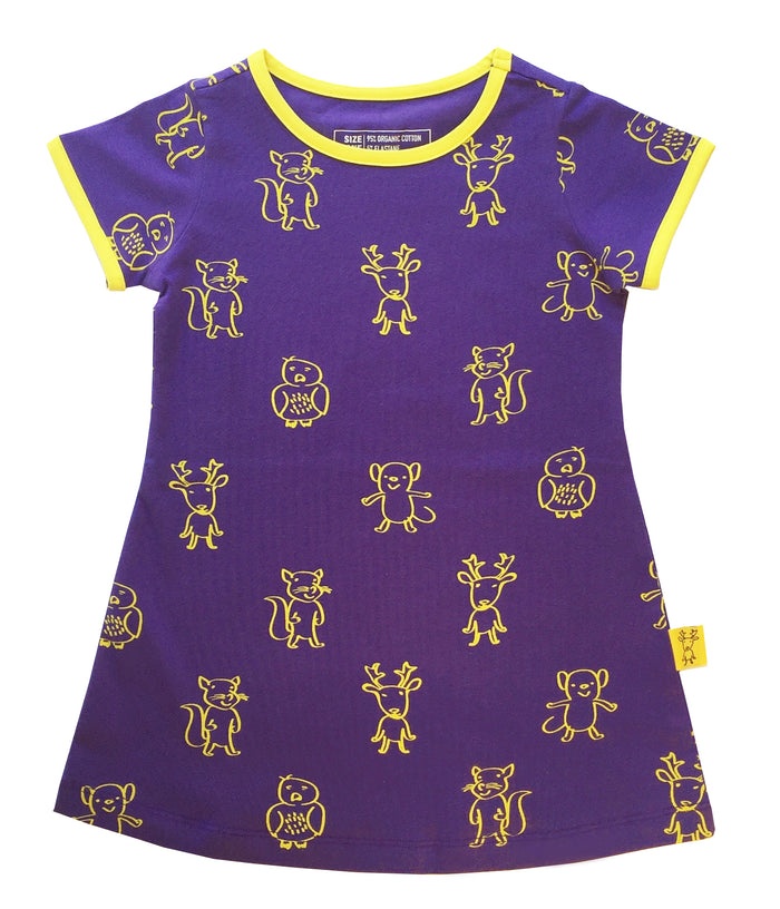 ELK AND FRIENDS PURPLE DRESS