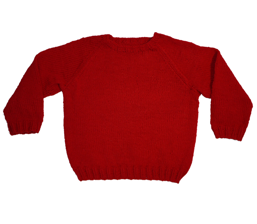 KNITTED BY NANNA RED JUMPER