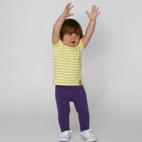 YELLOW STRIPED TEE FOR GIRLS+BOYS