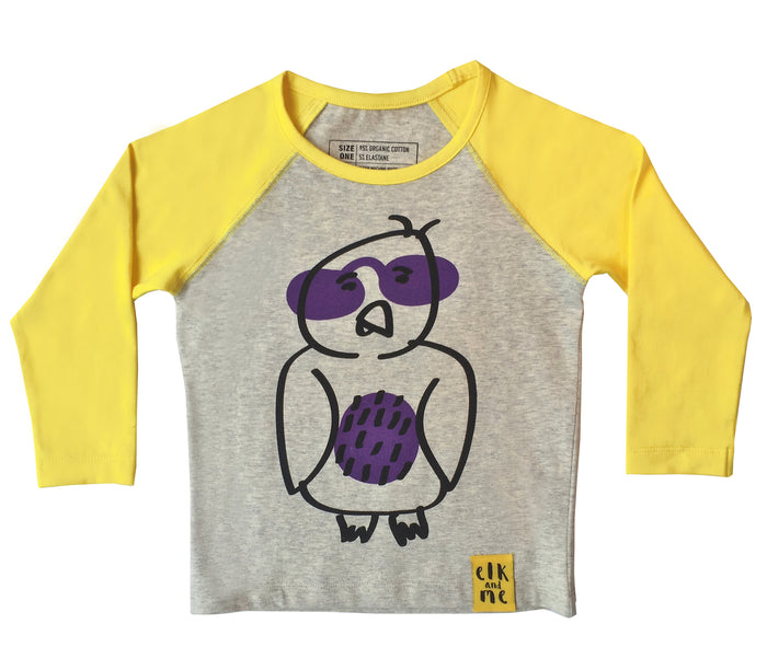 TOOT THE OWL LONG SLEEVE TEE FOR GIRLS+BOYS