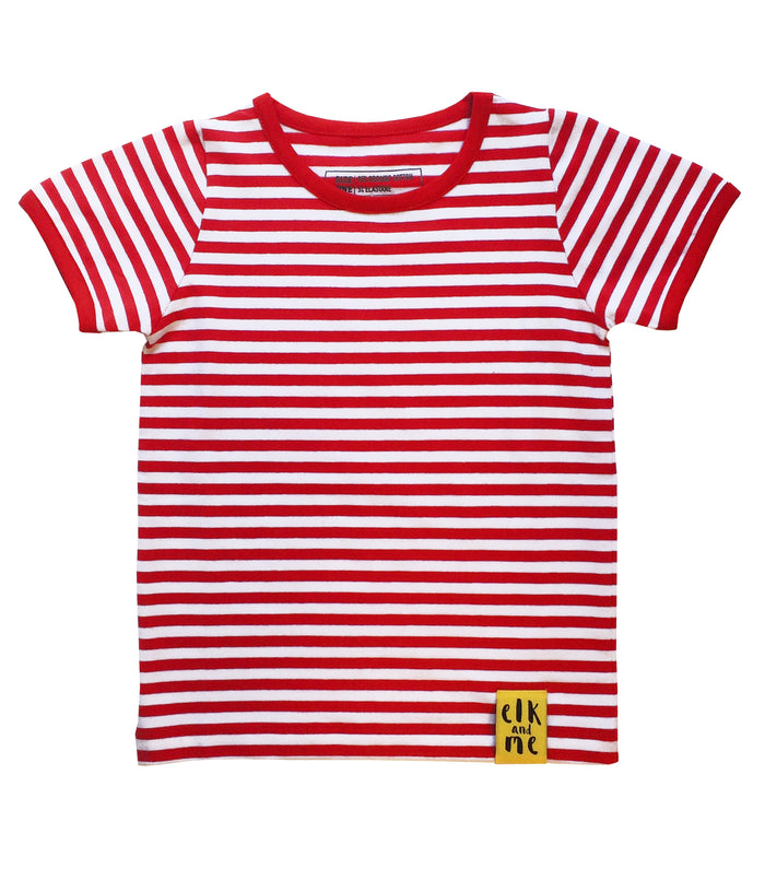 RED STRIPED TEE FOR GIRLS+BOYS
