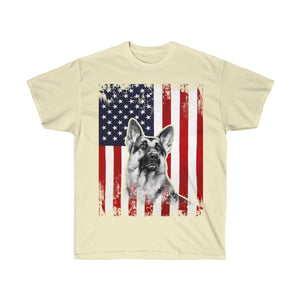I Love German Shepherds And The American Flag
