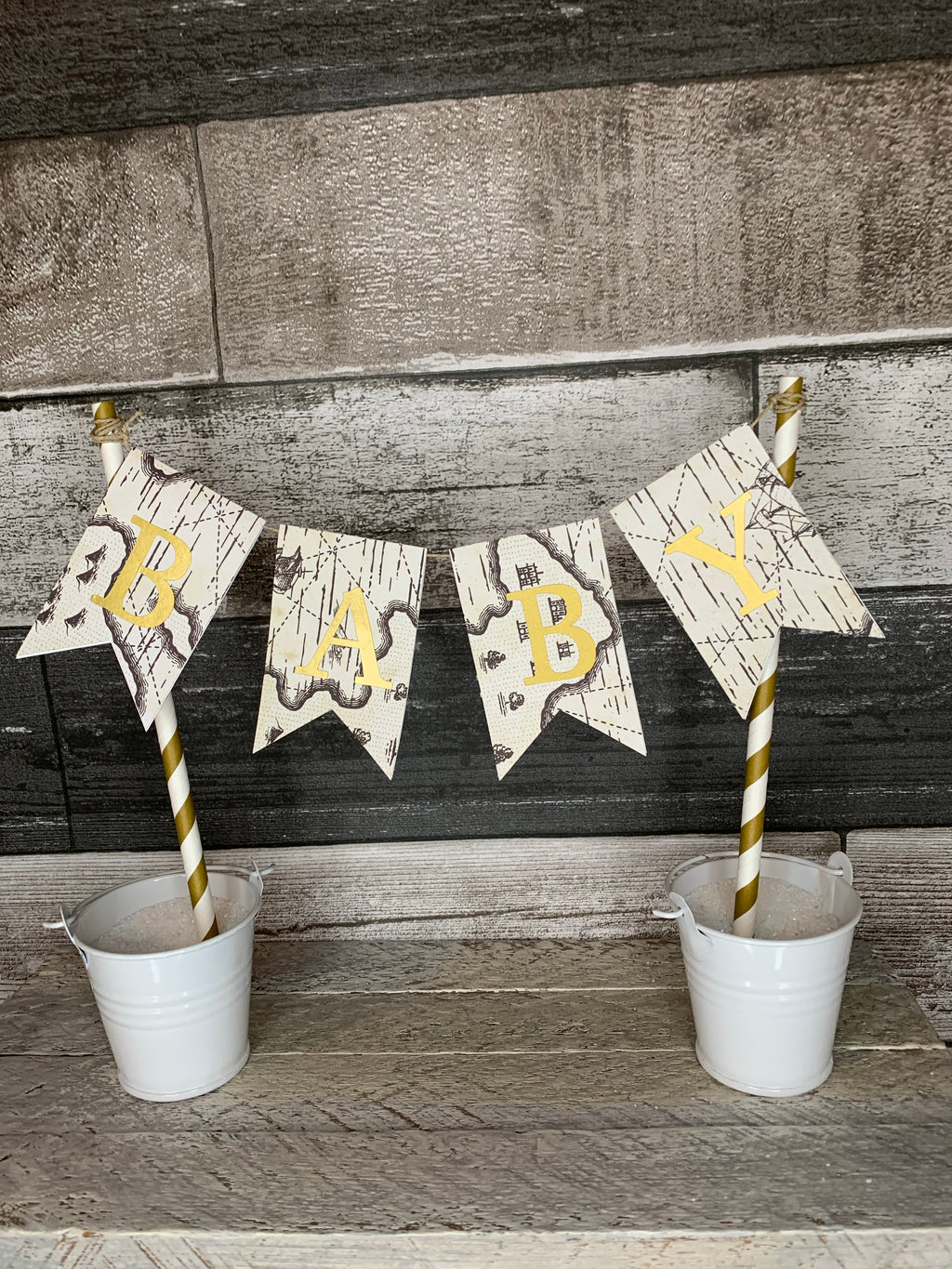 Baby Shower Pennant Cake Toppers
