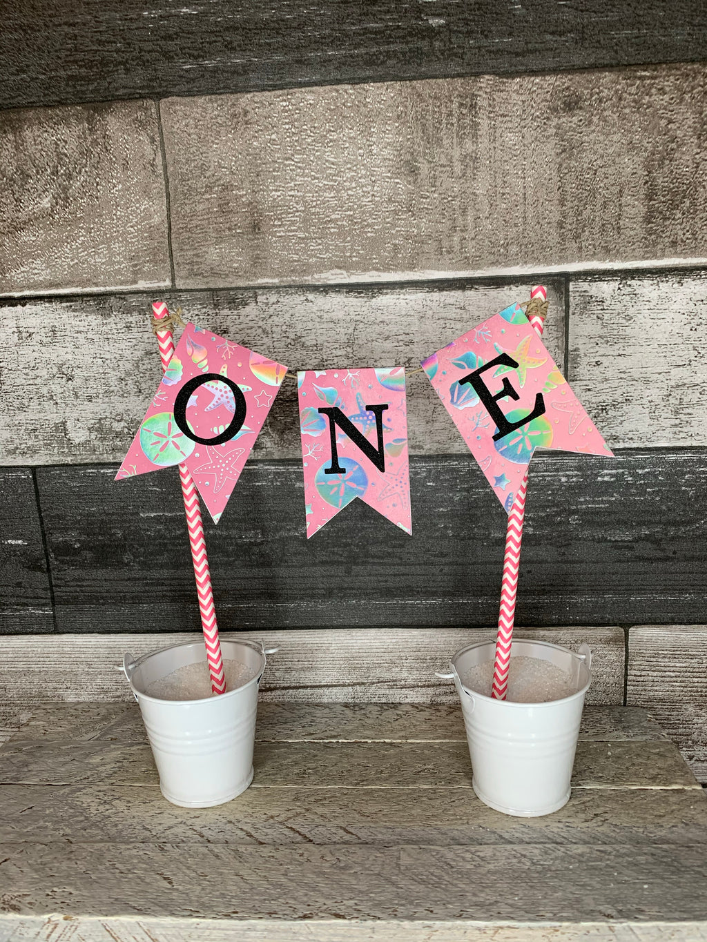 First Birthday Pennant Cake Toppers