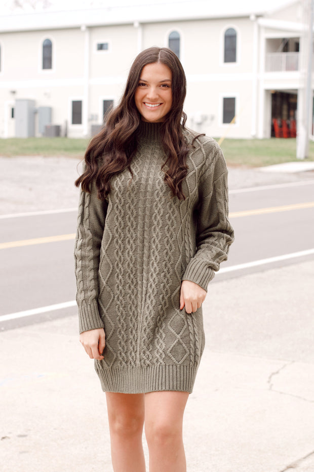 Cable Knit Mock-Neck Sweater Dress