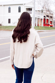 Oversized Henley Top W/ RIbs
