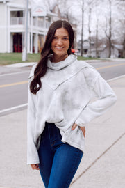 Soft Tie Dye Turtle Neck Long Sleeve Top