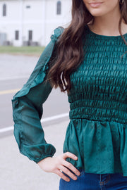 Smocking Peplum Top W/ Ruffle Sleeves