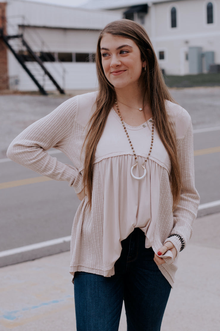 Double Textured Long-Sleeve Top W/ Button Detail