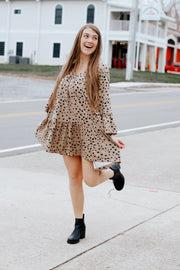 Long Sleeve Babydoll Dalmatian Print Dress