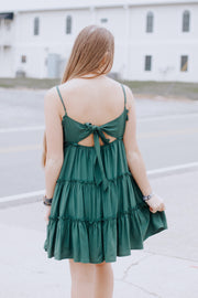 Spaghetti Strap Tie Back Ruffle Dress
