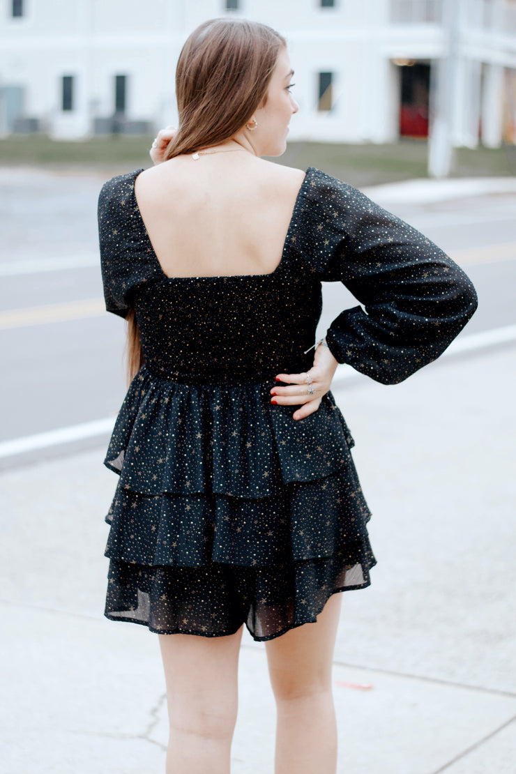 Off-Shoulder Romper Top W/Gold Detail