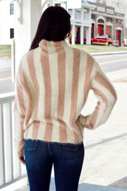 Turtle Neck Stripe Long Sleeve Crop Sweater