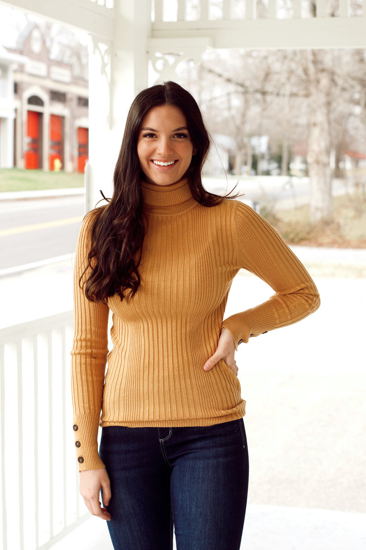 Long Sleeve Rib Turtle Neck Sweater