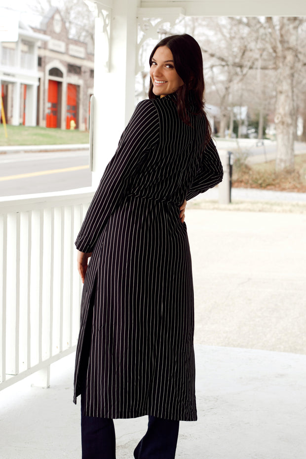 Pin Stripe Belted Light Weight Coat
