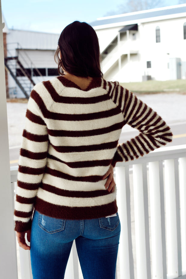 Mixed Striped Round Neck Sweater