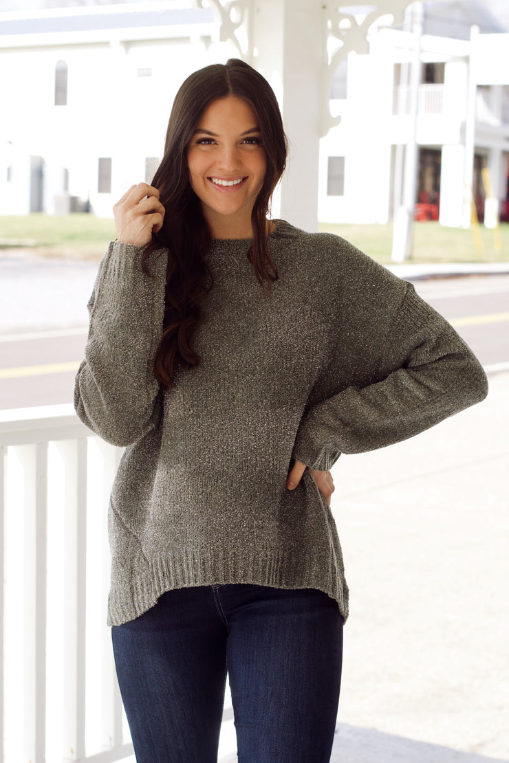 Long Sleeve Sweater W/ Speckled Shimmer