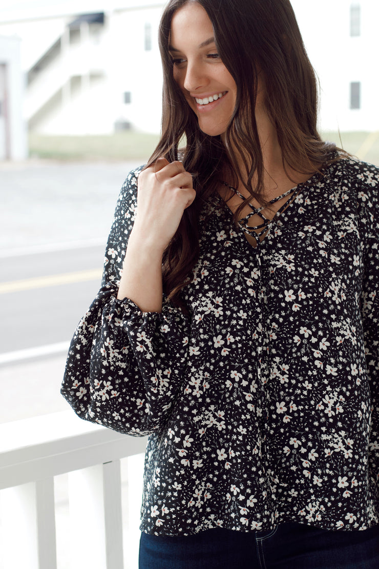 Floral Long Sleeve Peasant Blouse