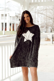 Long Sleeve Stone Wash Star T-shirt Dress