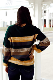 Color Block Sweater W/ Balloon Sleeves
