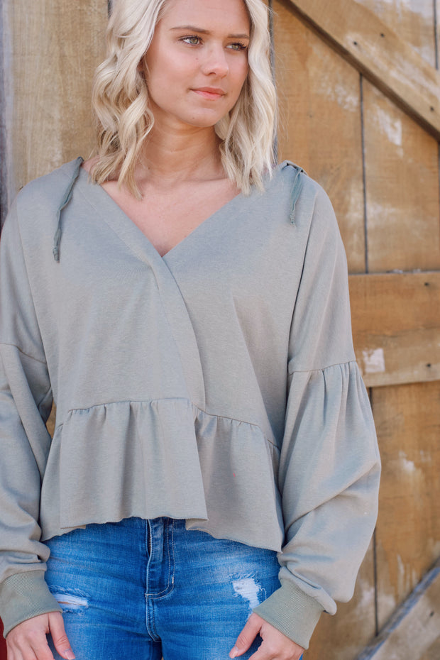 Hoodie W/ Drawstring String V-Neck Ruffle Raw Hem Top