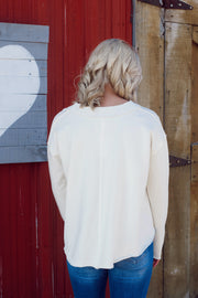 Long Sleeve Rib V-Neck Pullover