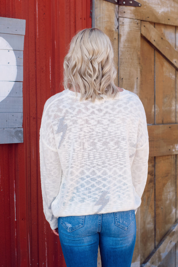 Knit Lightweight Lightning Bolt Sweater