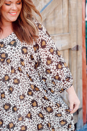 Animal Print Balloon Sleeve Babydoll Dress W/ Pockets