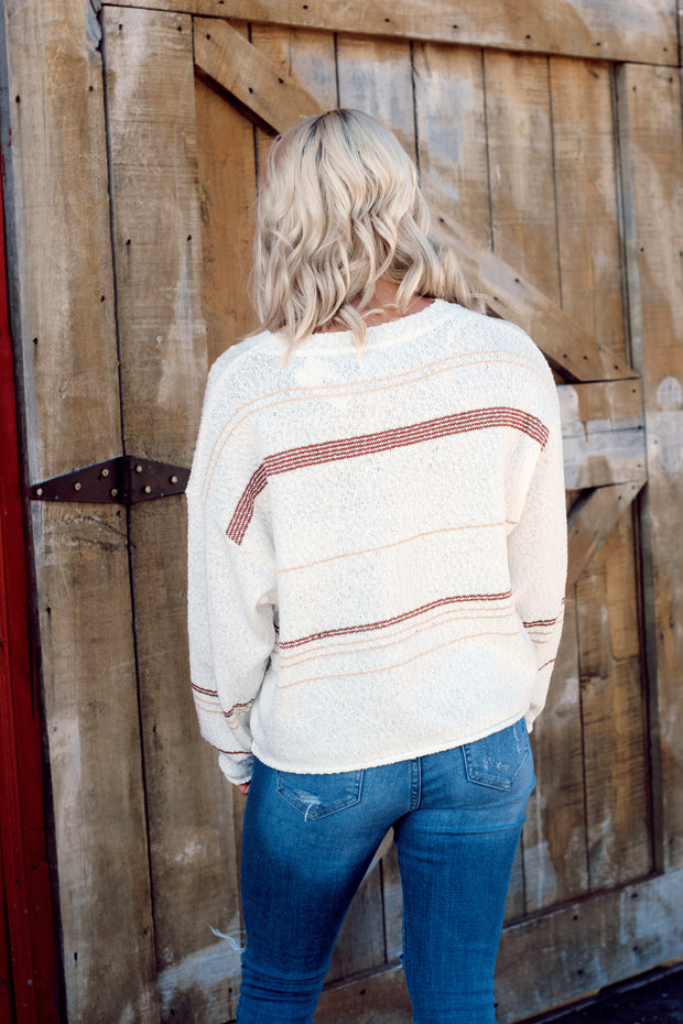 Long Sleeve Textured Striped Sweater Pullover