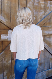 Single Bolt Mid-Sleeve Knit Top