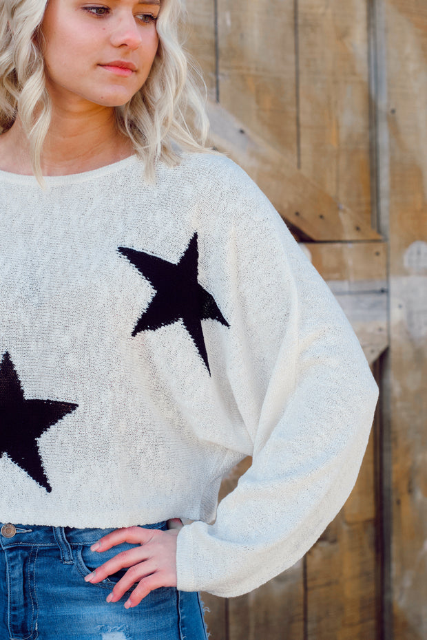 Long-Sleeve Star Crop