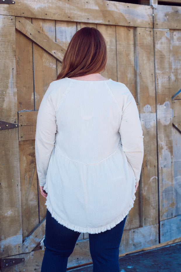 Button Round Neck Top W/ Frayed Hem