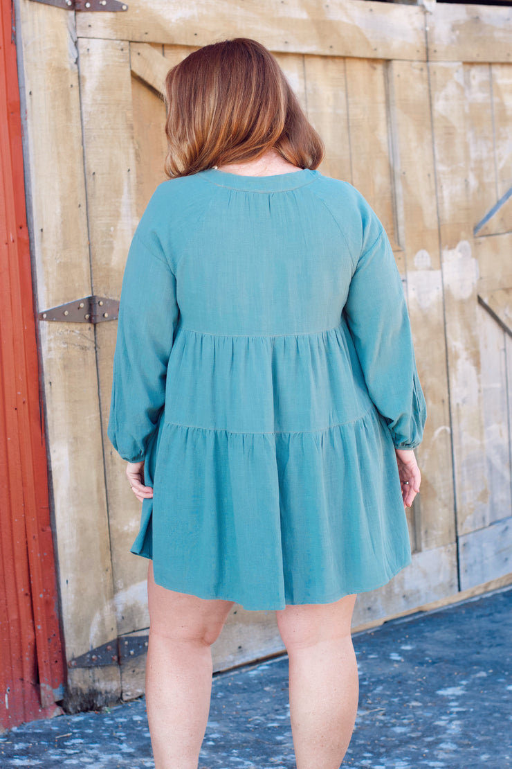 Linen Square Neckline Babydoll Tiered Dress