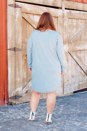 Long Sleeve Round Neck Raw Edge Detail Dress PLUS